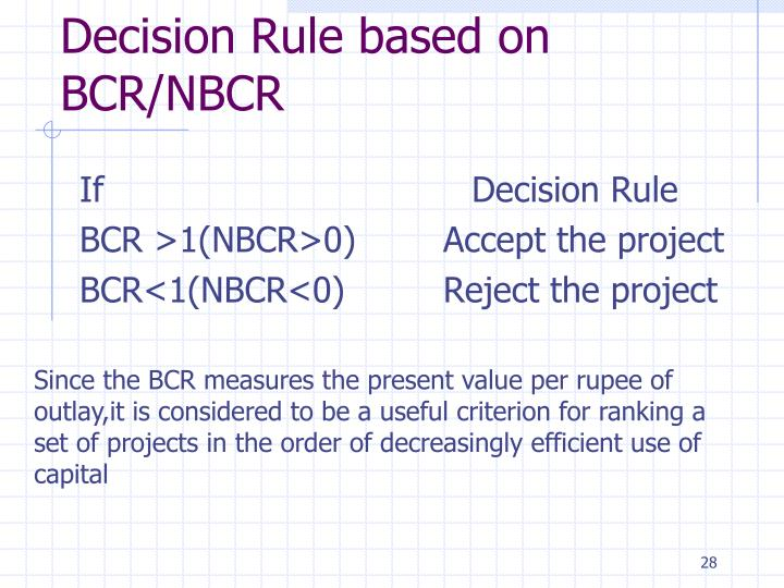 Decision Rule based on BCR/NBCR