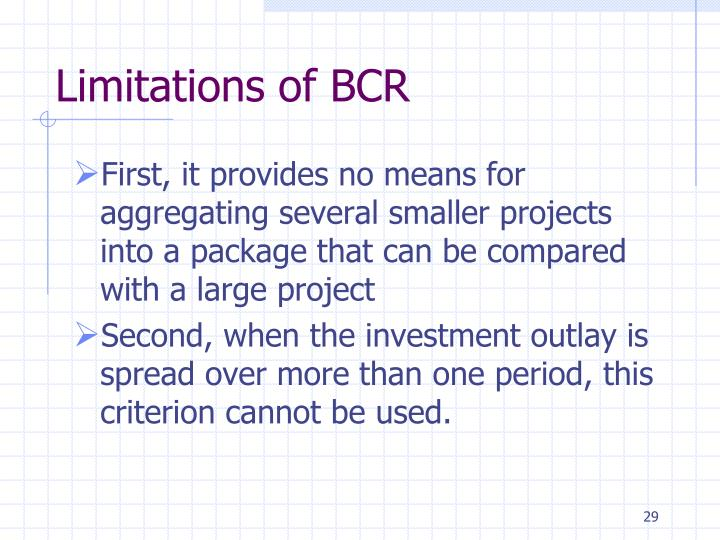 Limitations of BCR