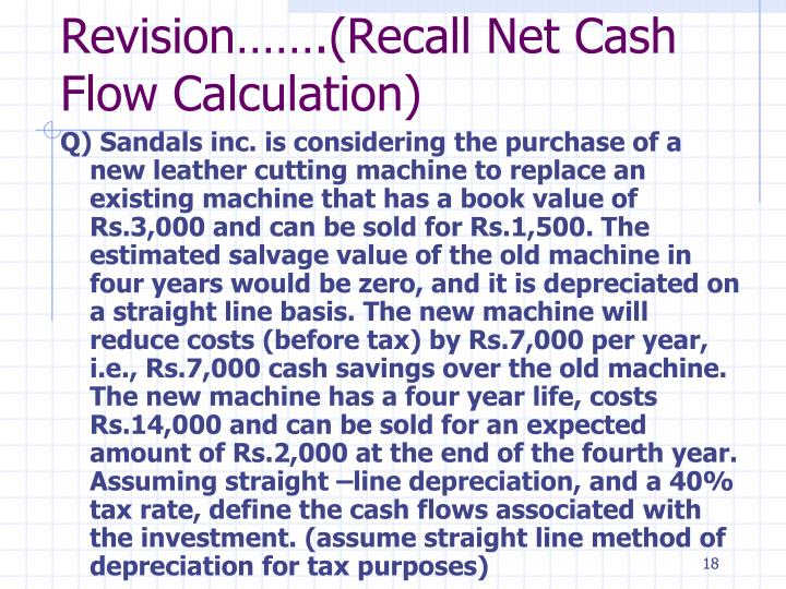 Revision…….(Recall Net Cash Flow Calculation)
