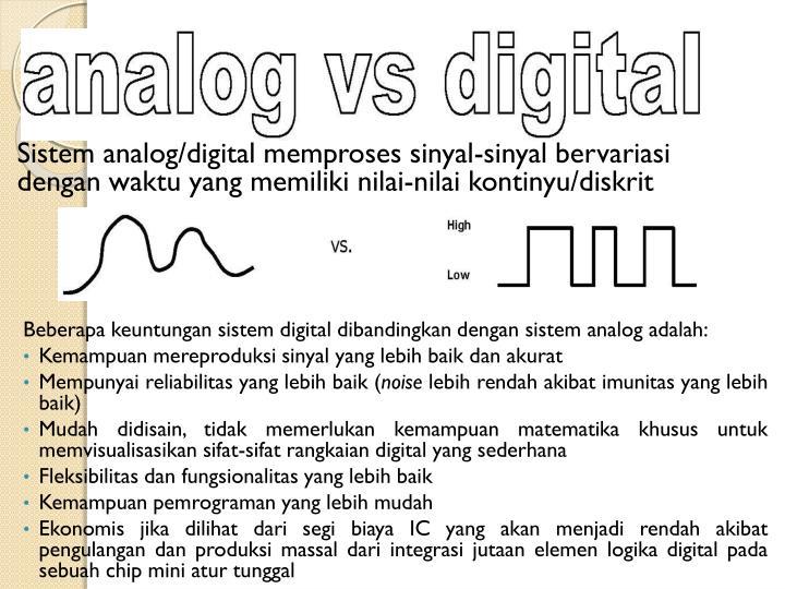 Sistem analog/digital memproses sinyal-sinyal bervariasi dengan waktu yang memiliki nilai-nilai kontinyu/diskrit