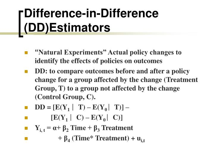 Difference-in-Difference (DD)Estimators