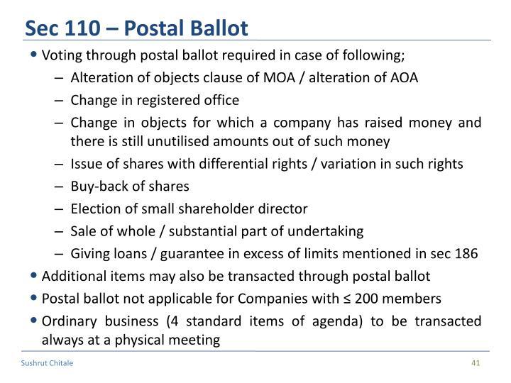 Sec 110 – Postal Ballot