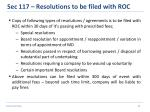 sec 117 resolutions to be filed with roc