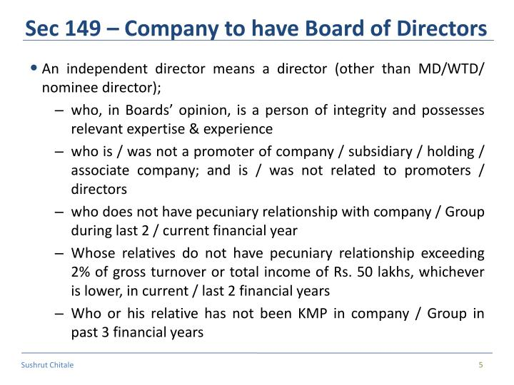 Sec 149 – Company to have Board of Directors
