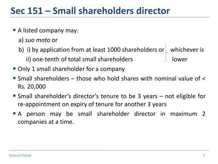 Sec 151 – Small shareholders director