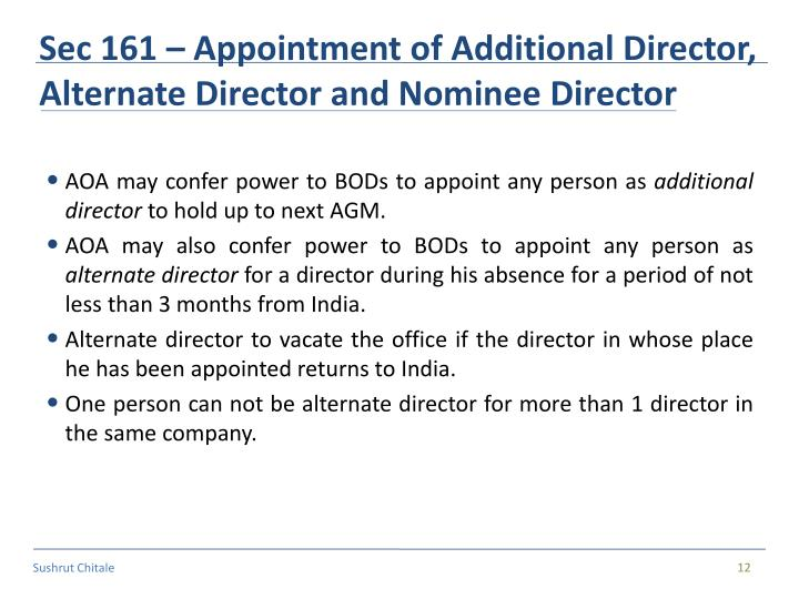 Sec 161 – Appointment of Additional Director, Alternate Director and Nominee Director