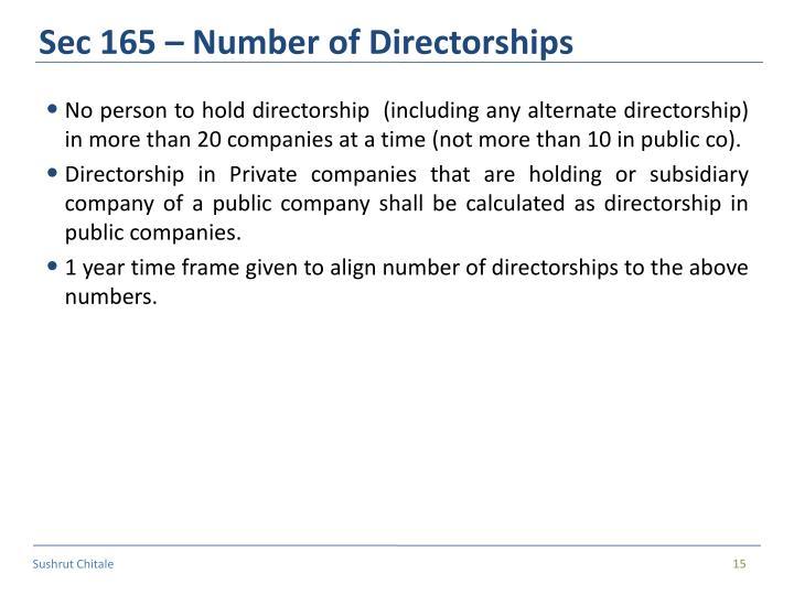 Sec 165 – Number of Directorships