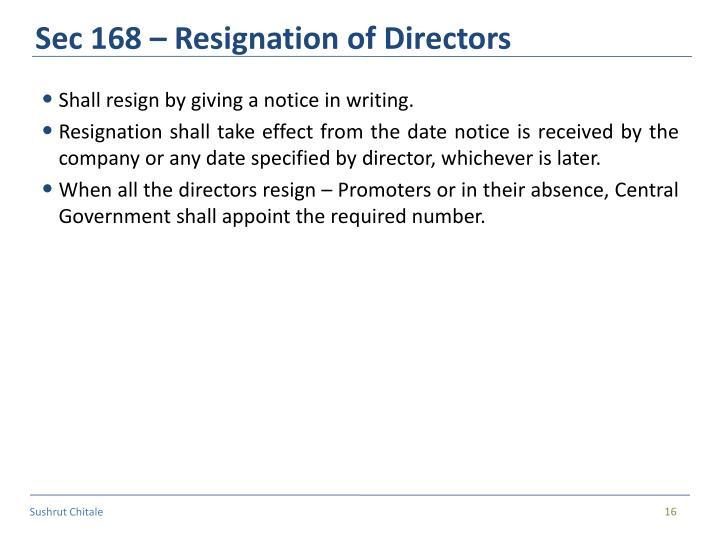 Sec 168 – Resignation of Directors