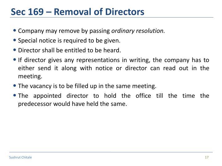 Sec 169 – Removal of Directors