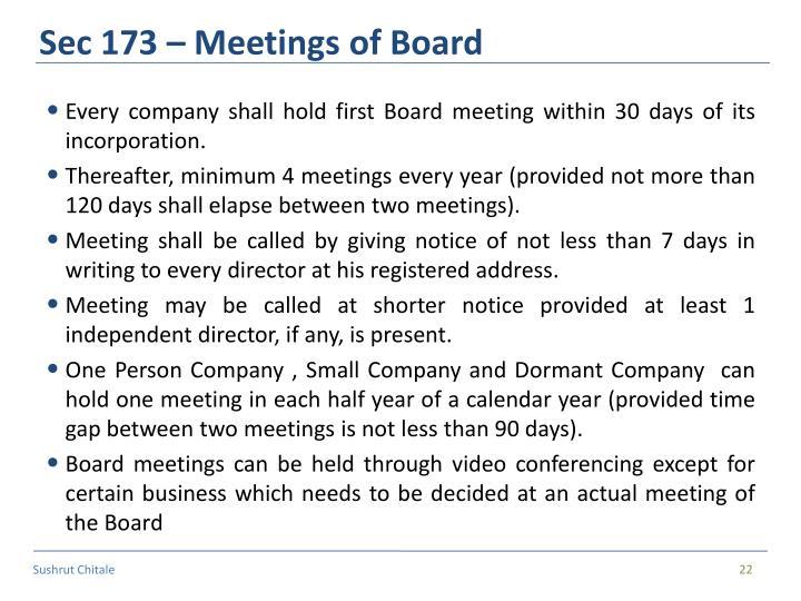 Sec 173 – Meetings of Board