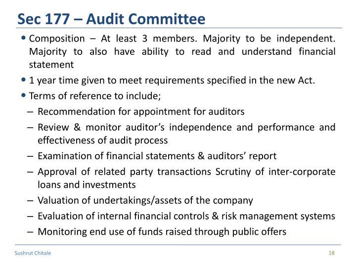 Sec 177 – Audit Committee