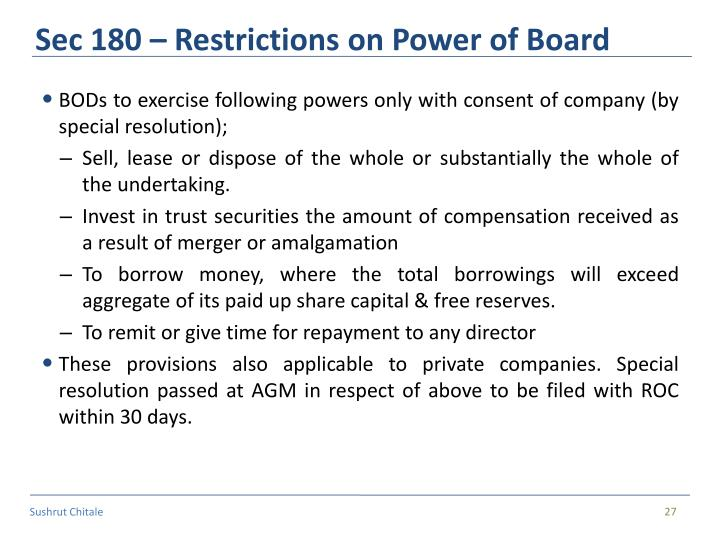 Sec 180 – Restrictions on Power of Board