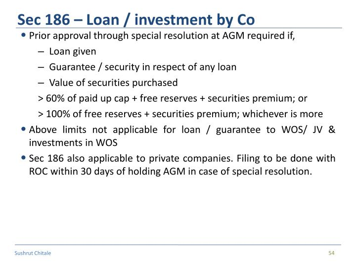 Sec 186 – Loan / investment by Co
