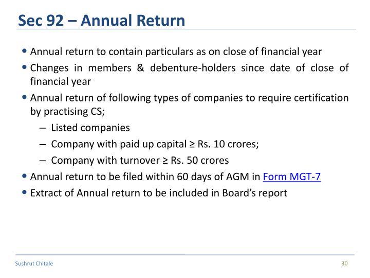 Sec 92 – Annual Return
