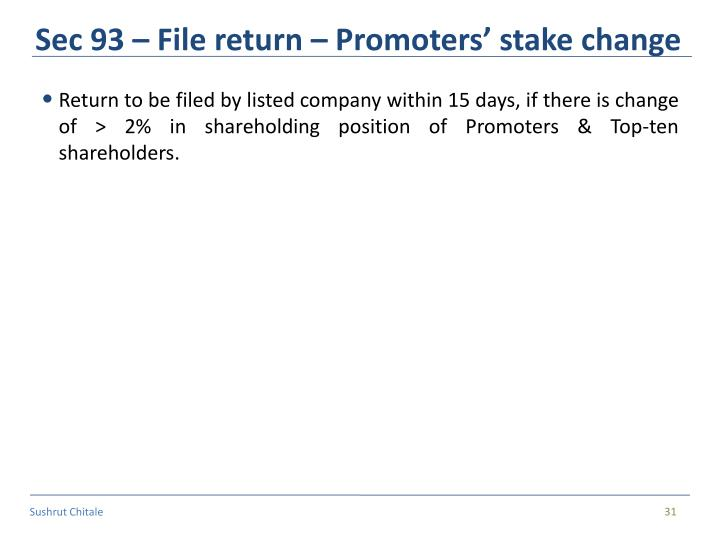 Sec 93 – File return – Promoters' stake change