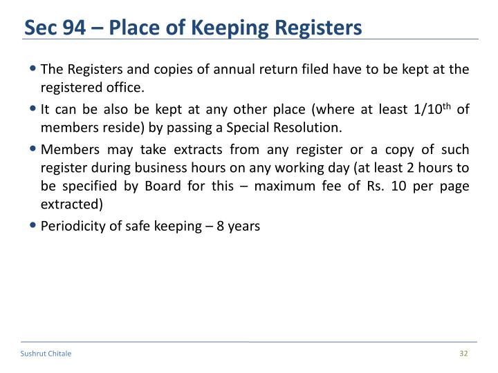Sec 94 – Place of Keeping Registers