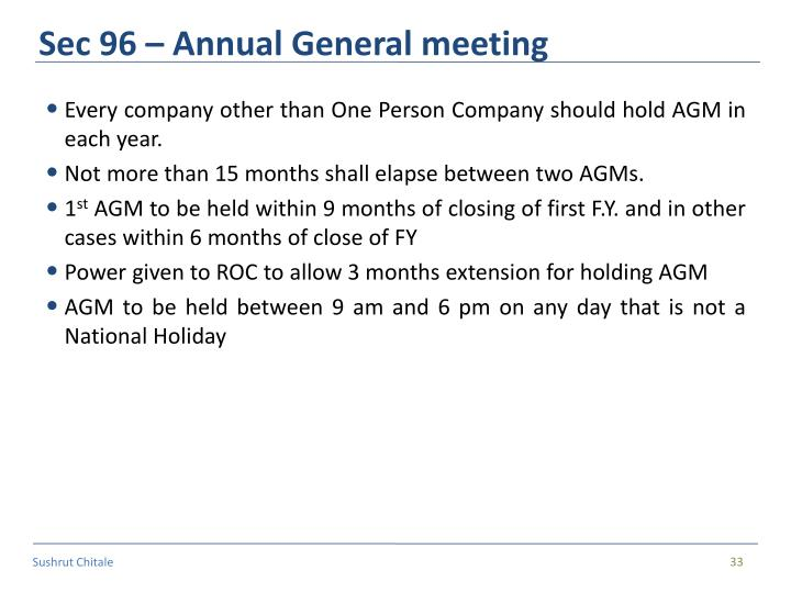 Sec 96 – Annual General meeting