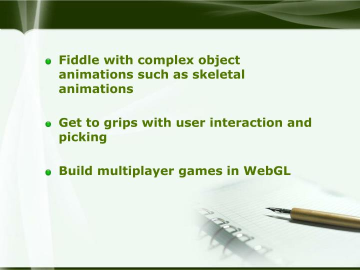 Fiddle with complex object animations such as skeletal animations