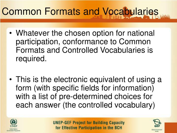 Common Formats and Vocabularies