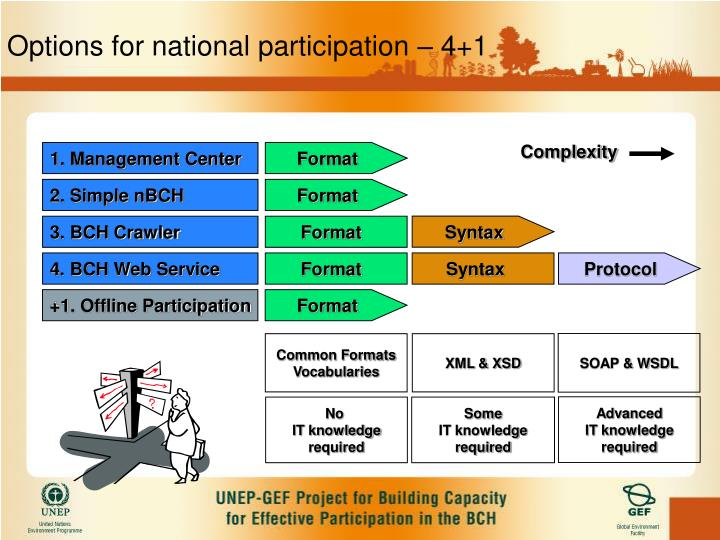 Options for national participation – 4+1