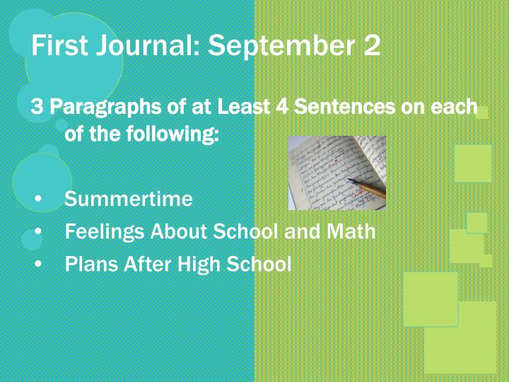 First Journal: September 2