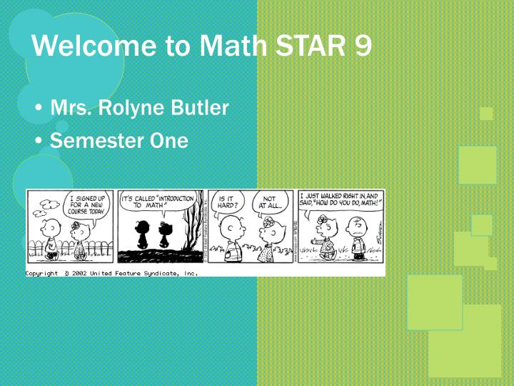 Welcome to math star 9