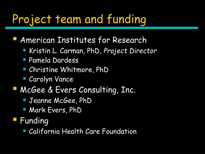 Project team and funding