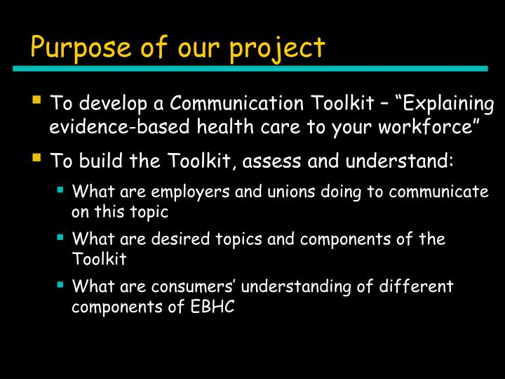Purpose of our project