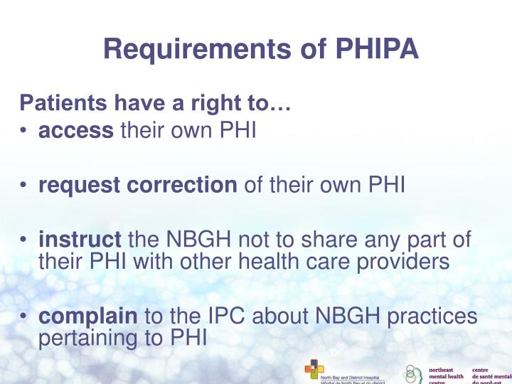 Requirements of PHIPA