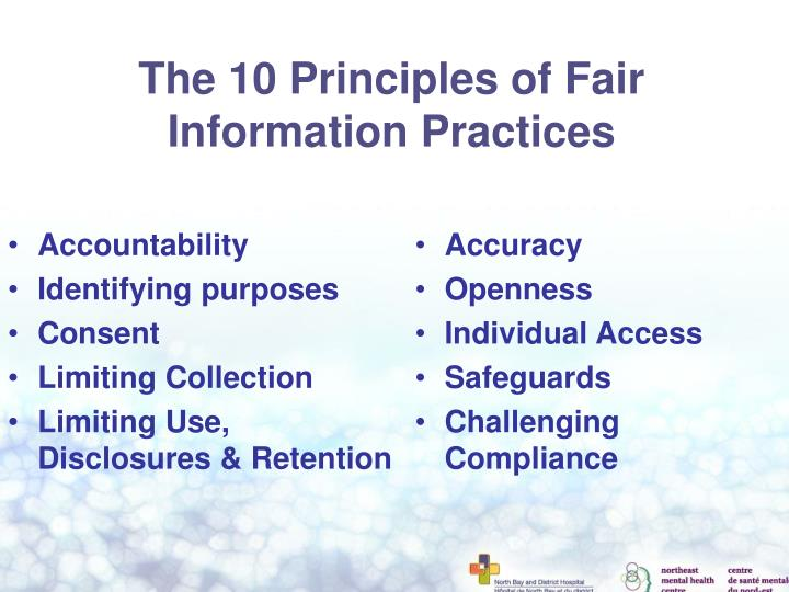 The 10 Principles of Fair Information Practices