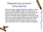 empowering learners intervention