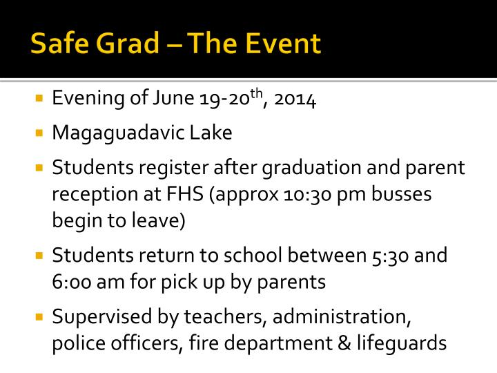 Safe Grad – The Event