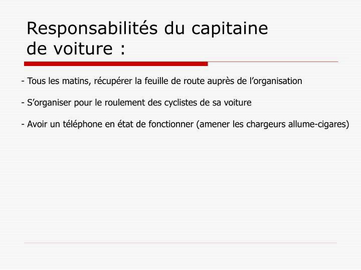 Responsabilités du capitaine