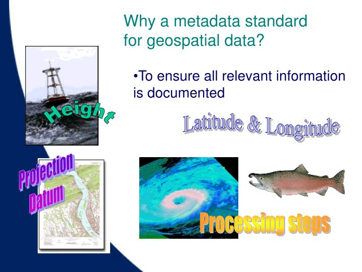 Why a metadata standard for geospatial data?