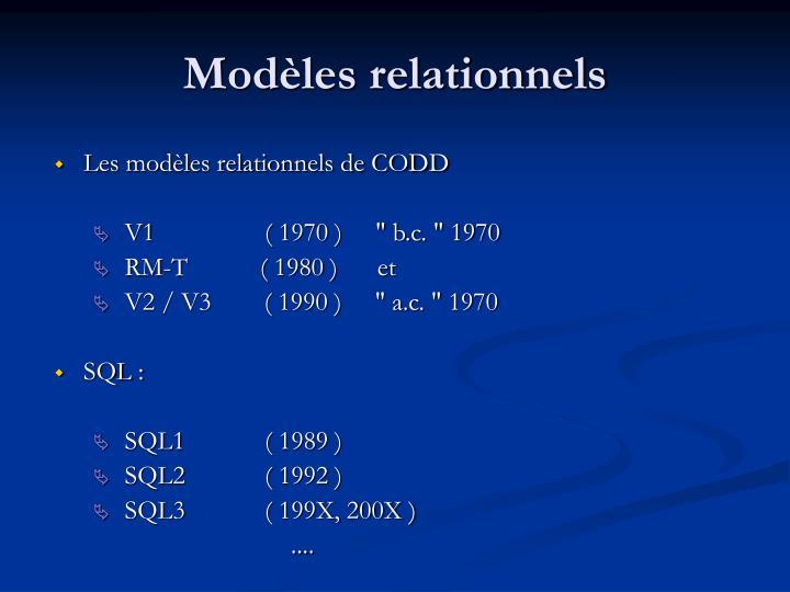 Modèles relationnels