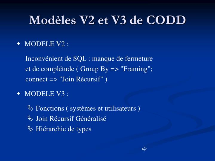 Modèles V2 et V3 de CODD