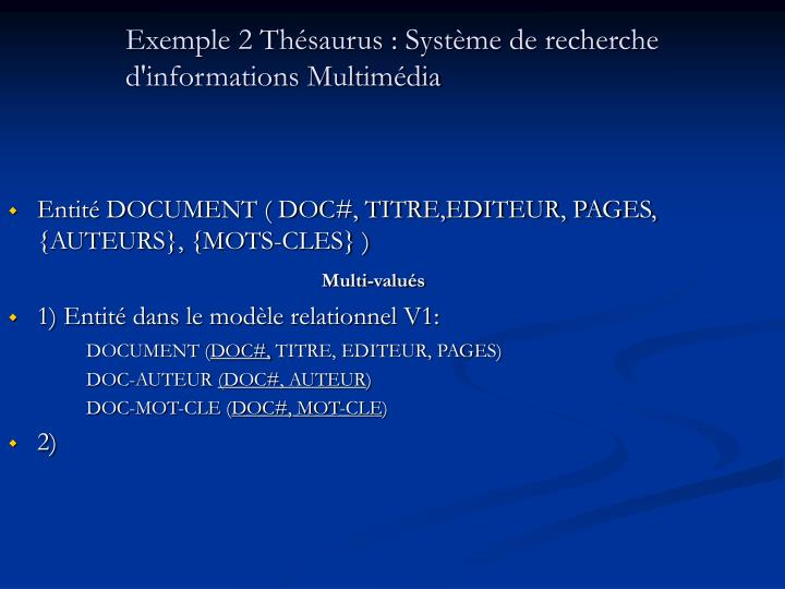 Exemple 2 Thésaurus : Système de recherche d'informations Multimédia