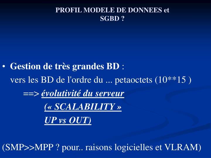 PROFIL MODELE DE DONNEES et