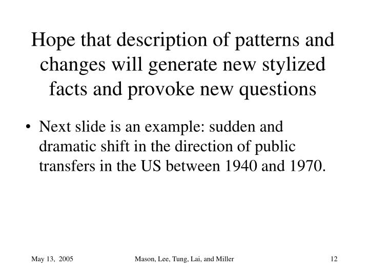 Hope that description of patterns and changes will generate new stylized facts and provoke new questions