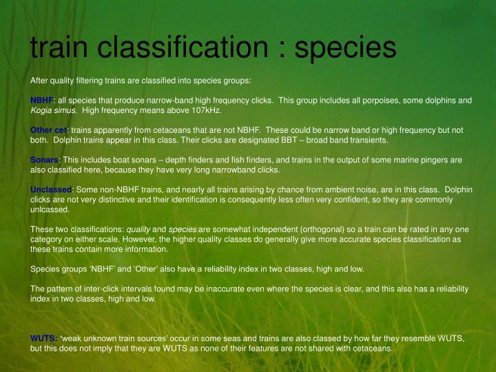 train classification : species