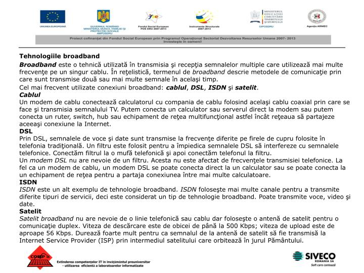 Tehnologiile broadband