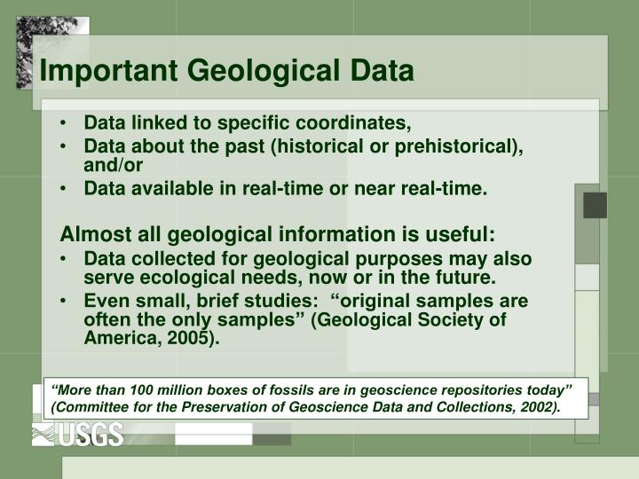 Important Geological Data