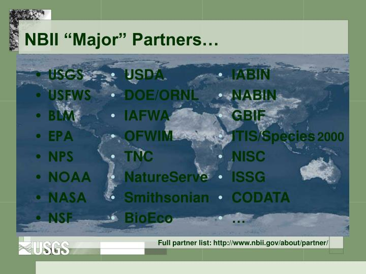 """NBII """"Major"""" Partners…"""