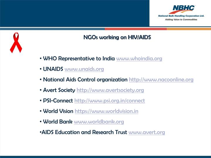 NGOs working on HIV/AIDS