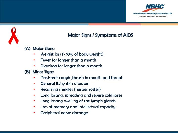 Major Signs / Symptoms of AIDS