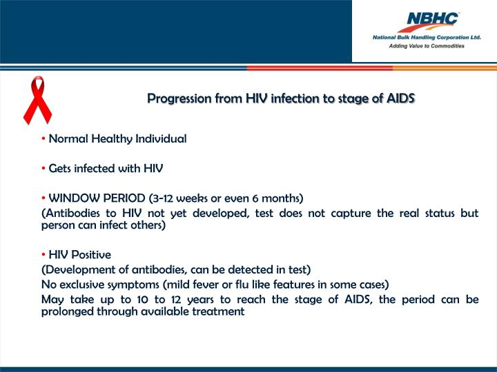 Progression from HIV infection to stage of AIDS