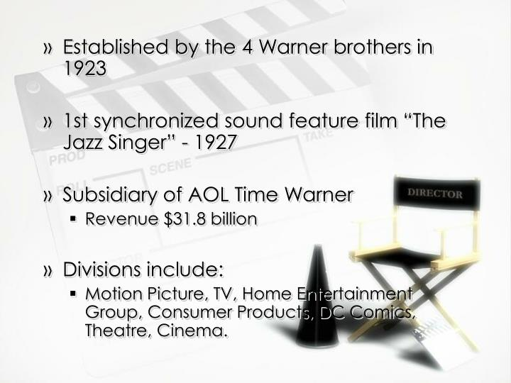 Established by the 4 Warner brothers in 1923