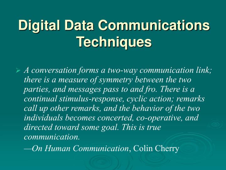 Digital data communications techniques