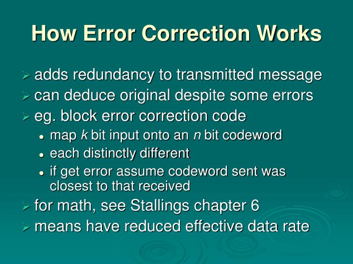 How Error Correction Works