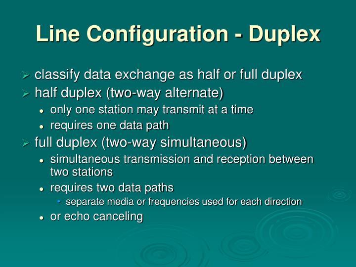 Line Configuration - Duplex